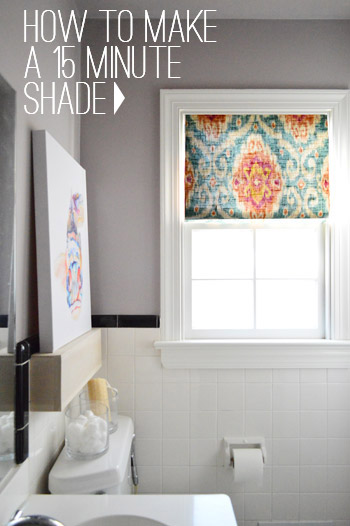 how to make a DIY window shade in 15 minutes graphic