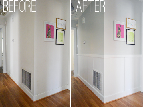 side by side comparison of a hallway that was updated with easy and affordable DIY board & batten