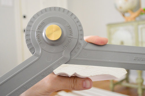 Angle finding tool close up for cutting crown molding