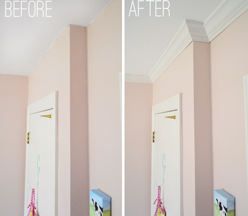 before and after detail of inside and outside crown molding corners