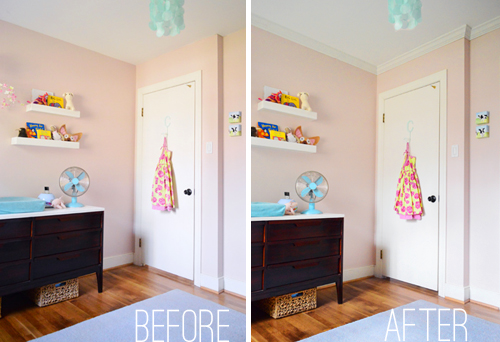 before and after of pink girl's bedroom with and without crown molding on ceiling