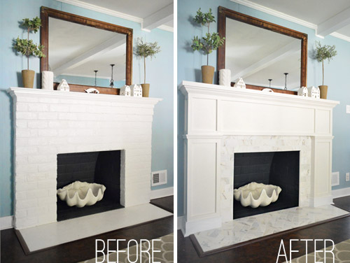 Our 200 Fireplace Makeover Marble Tile A New Mantel Young