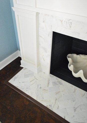 Our 200 Fireplace Makeover Marble, How To Reface A Brick Fireplace With Marble Tile