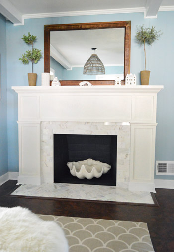 Our 200 Fireplace Makeover Marble Tile Amp A New Mantel