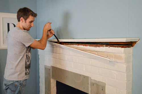 Fireplace Makeover Tiling The Mantel With Marble Herringbone Young House Love