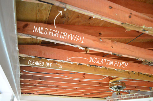 So My Next Step Was Tidying Up The Still Messy Looking Joists By Prying Off All Of Leftover Drywall Nails And Lingering Insulation