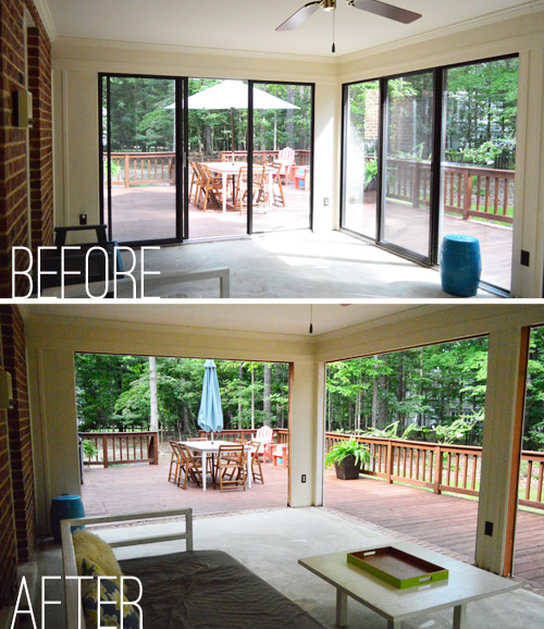 Before And After From Separate Rooms To Huge Open Plan: Open 'Er Up! (Converting A Sunroom Into A Veranda)