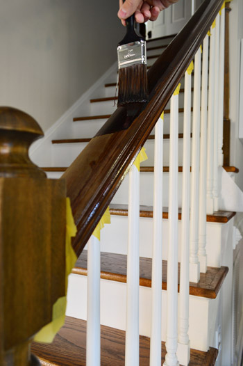 Applying PloyShades to wooden stair railing