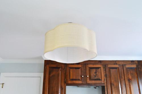 Quatrefoil linen pendant light fixture with shade