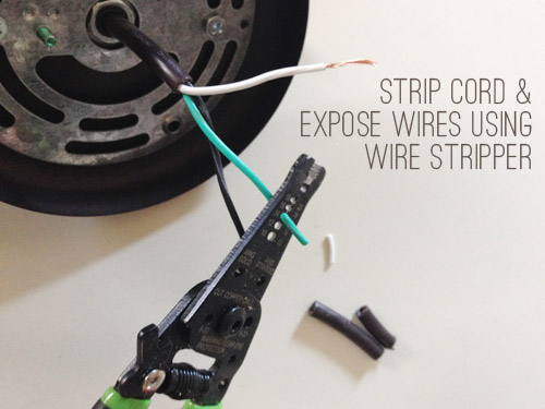 Stripping cord and wires of pendant light fixture with wire stripper tool