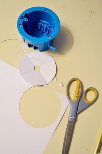 Cutting paper template for old work electrical fixture box
