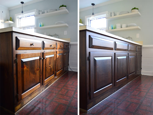 Using Polyshades To Darken Our Wood Cabinets Young House