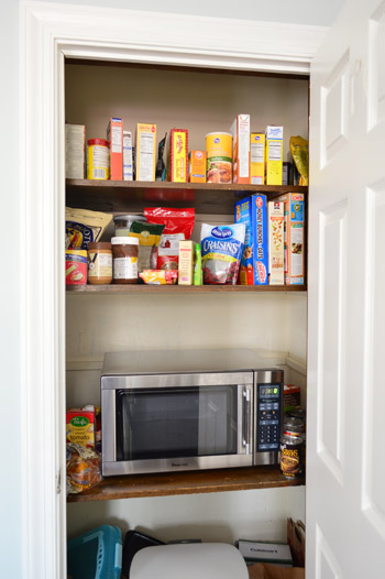 Shelves And A Microwave To The Pantry