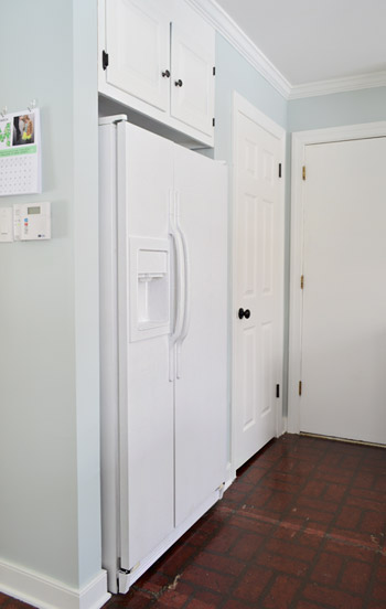 painted white refrigerator
