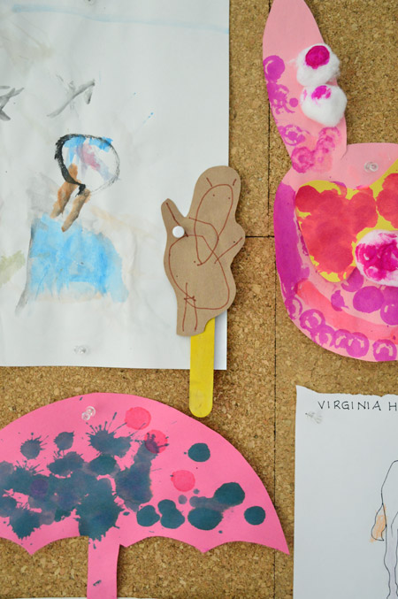 detail of kid art project with drawn bear on a popsicle stick