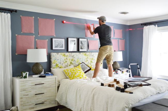 Making a frame gallery wall over our bed young house love - What to hang over bed ...