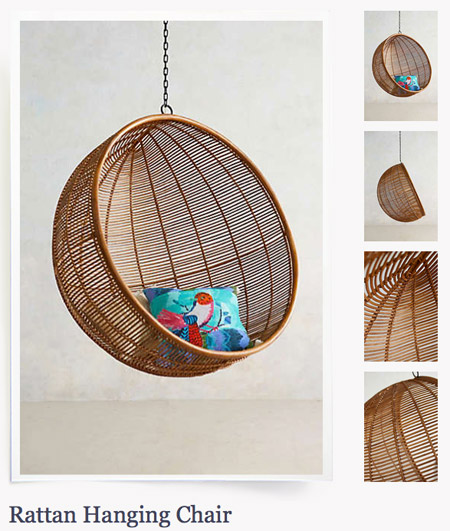 chair that hangs from ceiling. then we talked about an egg chair that hung from a stand instead of the ceiling hangs o