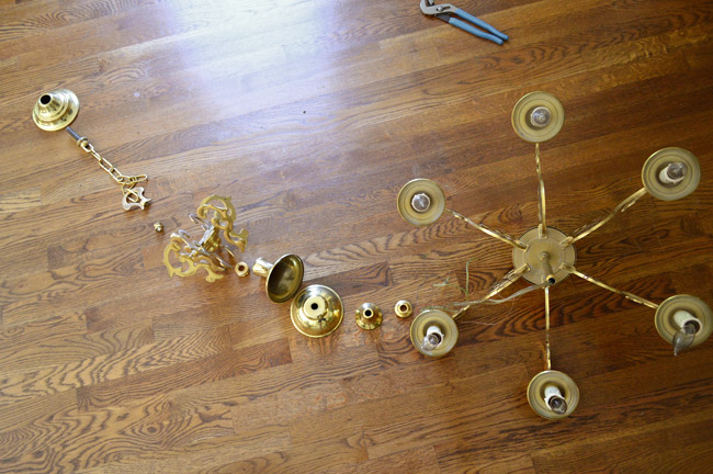 Updating An Old Dining Room Chandelier, How To Take Down Old Chandelier