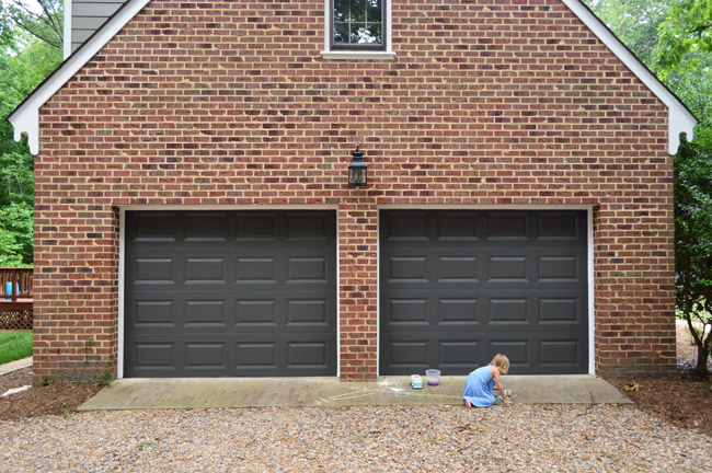 garage door color ideas for orangebrick house - Painting Our Garage Doors A Richer Deeper Color