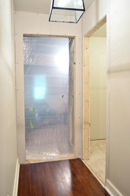two doorways drywalled and openings cut