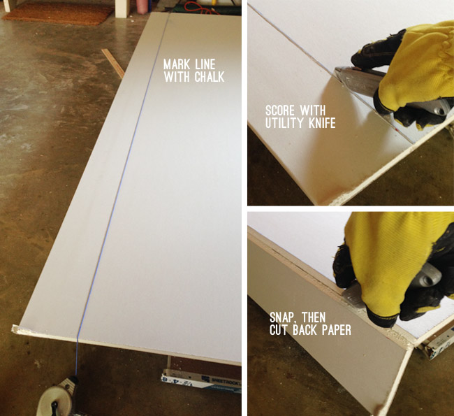 how to cut drywall series including marking with chalk scoring with knife snapping and cutting