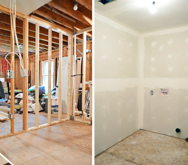before and after of room without drywall and with finished drywall
