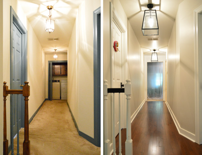 before and after side by side of hallway with new doorway at the end